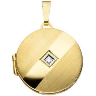Medaillon 333 Gelbgold teilrhodiniert teilmattiert 1 Zirkonia