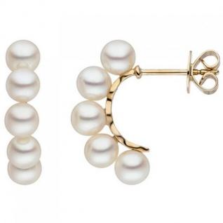 Halbcreolen 585 Gelbgold 10 Süßwasser Perlen weiß Ohrringe
