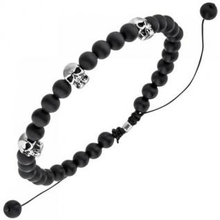 Armband Totenkopf Onyx Perlen schwarz 21, 5 cm Onyxarmband
