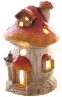 Windlicht Pilzhaus Deko rot wetterfest 24 cm für außen und innen