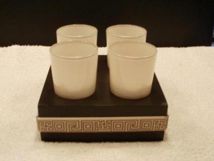 Teelichthalter für 4 Teelichter aus Holz und Glas, 15 cm