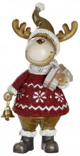 Weihnachts-Deko lustige Elch-Figur mit Laterne rot gold beige 6x16cm groß Witzige Dekofigur stehend