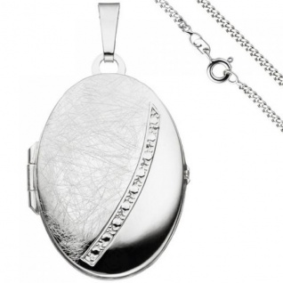 Medaillon oval Anhänger zum Öffnen für 2 Fotos 925 Silber mit Kette 50 cm - Vorschau 1