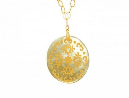 Halskette Medaillon Vergoldet Perlmutt Grau 5 cm