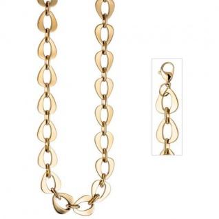 Collier Halskette Edelstahl gold farben beschichtet 46 cm Kette