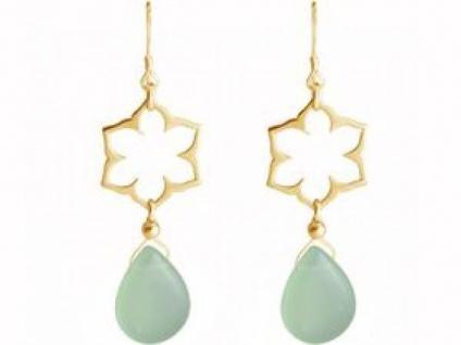 Ohrhänger 925 Silber vergoldet Lotus Blume Mandala Chalcedon Tropfen