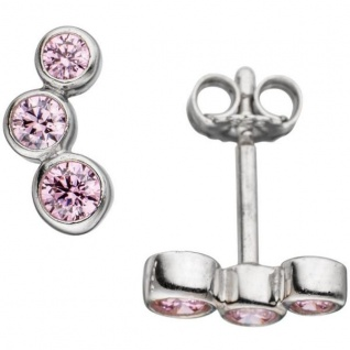 Ohrstecker 925 Sterling Silber rhodiniert 6 Zirkonia rosa Ohrringe