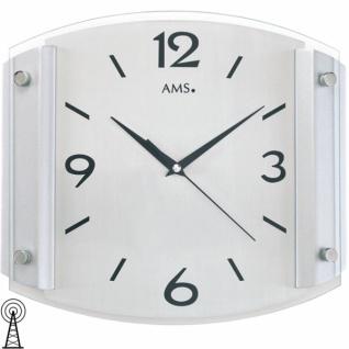 AMS 5938 Wanduhr Funk analog silbern modern mit Glas und Aluminium
