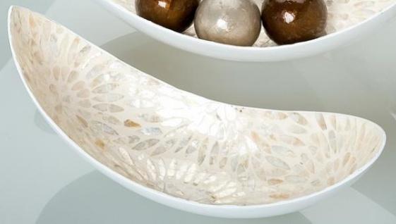 GILDE Deko Schale in Bootsform aus Keramik, natur gold, 53 cm