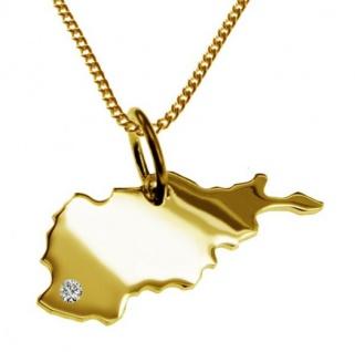 AFGHANISTAN Kettenanhänger mit Brillant aus 585 Gelbgold mit Halskette
