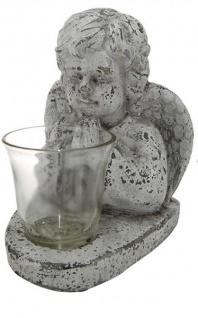 Schutz-Engel Windlicht-Engel betend Grabschmuck Grabdeko liebevolle Grab-Engel-Figur Skulptur wetterfest antik weiß 13x19x22cm gross