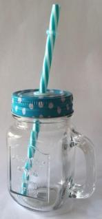 DIO Partyglas mit Aludeckel, Henkel und Strohhalm, blau, 9 x 11, 5 cm