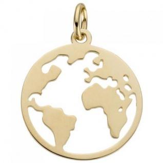 Anhänger Weltkarte 585 Gold Gelbgold - Vorschau