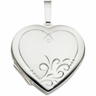 Medaillon Herz 925 Sterling Silber mattiert zum Öffnen 2 Fotos