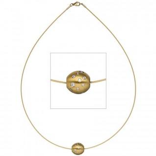Collier Halsreif mit Anhänger Kugel Edelstahl gold farben mit Zirkonia 45 cm