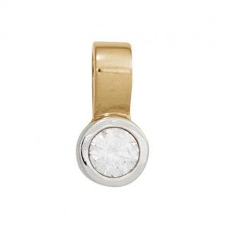 Einhänger Charm 585 Gelbgold Weißgold 1 Diamant Brillant 0, 15 ct.
