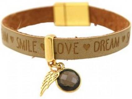 Armband Engel Flügel 925 Silber Vergoldet WISHES Braun Sand Rauchquarz