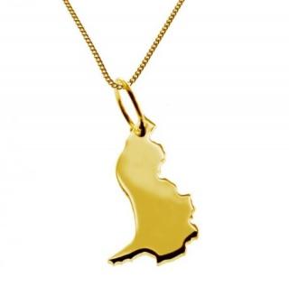 LICHTENSTEIN Kettenanhänger aus massiv 585 Gelbgold mit Halskette