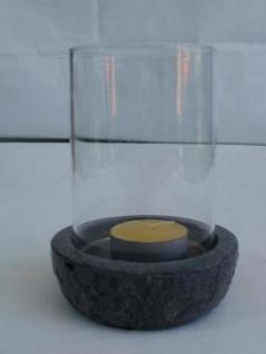 Windlicht aus Glas und Kunststein, 12 cm hoch