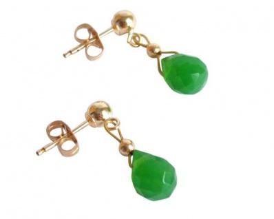 Gemshine Damen Ohrringe Vergoldet Jade Facettiert Tropfen Grün 1 cm