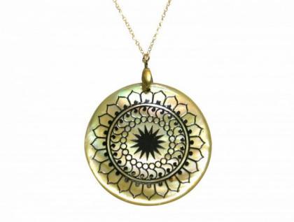 Halskette Medaillon Perlmutt Vergoldet Schwarz Grau 3 cm