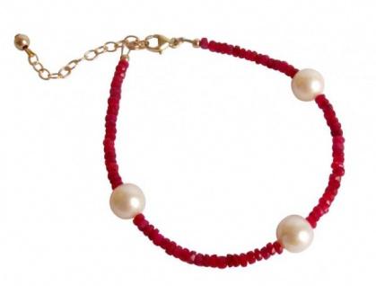 Gemshine Damen Armband Vergoldet Rubin Rot 3 Perlen Weiß