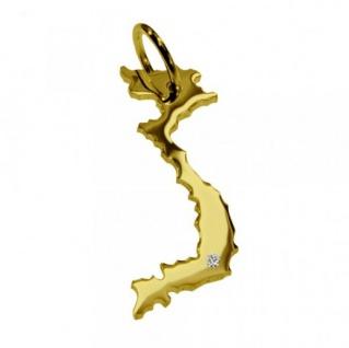VIETNAM Kettenanhänger mit Brillant am Wunschort aus massiv 585 Gold