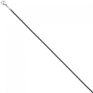 Rundankerkette Edelstahl schwarz lackiert 42 cm Kette Halskette Karabiner