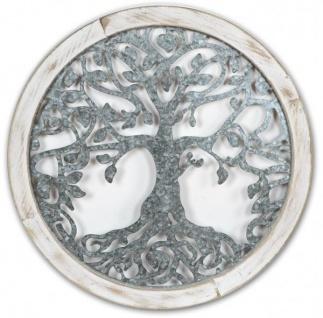 Wanddekoration rund 64 cm aus Metall und Holz mit Ornament