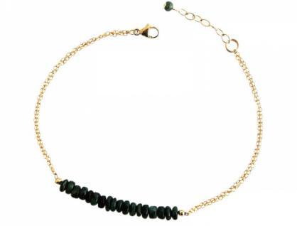 Damen Armband Vergoldet Smaragd Grün 19 cm