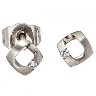 Ohrstecker 950 Platin mattiert 2 Diamanten Brillanten 0, 03 ct.