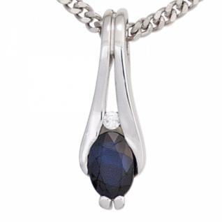 Anhänger 333 Weißgold 1 blauer Saphir 1 Diamant Brillant 0, 02ct.