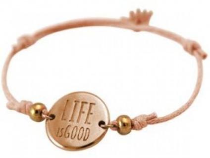 Damen Armband Gravur LIFE IS GOOD Rose Vergoldet Hellkoralle Rose