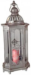 Deko Laterne aus Metall Vintage Antik Silber Windlicht Retro eckig 27 x 70 cm