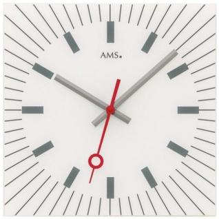 AMS 9576 Wanduhr Quarz analog weiß leise ohne Ticken eckig mit Glas