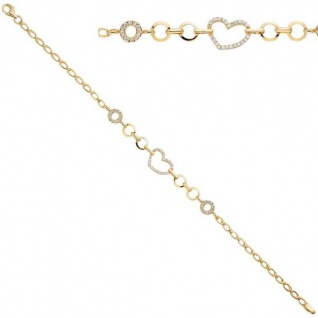 Armband Herz 925 Sterling Silber Gold vergoldet mit Zirkonia 19 cm