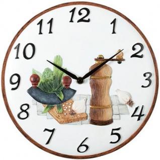 Atlanta 6103 Küchenuhr Wanduhr Quarz weiß braun Motiv Pfeffermühle