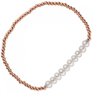 Armband 925 Silber Rotgold vergoldet 10 Süßwasser Perlen