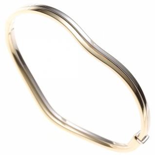 Armreif 585 Gelbgold Weißgold kombiniert mit Struktur oval