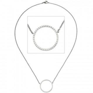 Collier Halskette mit Anhänger Kreis Edelstahl 40 Zirkonia 45 cm Kette