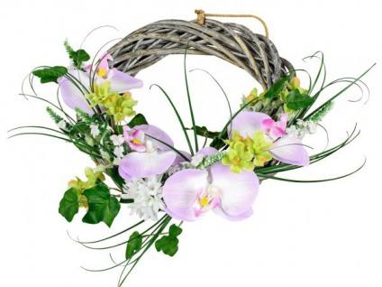 Blumenkranz Türkranz lila grün Rattan Orchidee Hyazinthen Ø 28 cm