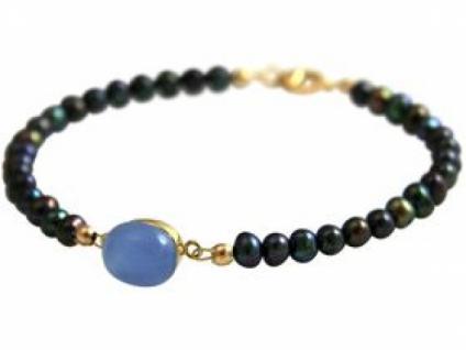 Damen Armband Vergoldet Tahiti Grau Perlen Chalcedon Blau 18 cm