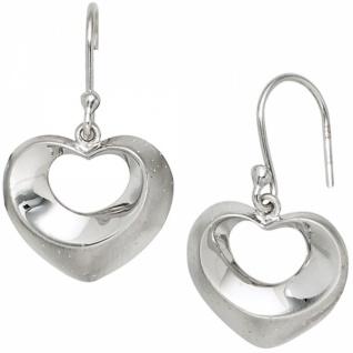 Ohrhänger Herz 925 Sterling Silber teilmattiert mit Glitzereffekt