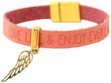 Armband Schutz Engel Flügel 925 Silber Vergoldet WISHES Rosa Pink