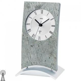 AMS 5160 Tischuhr Funk Funktischuhr Funkuhr analog Holz mit Stein-Auflage