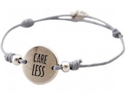 Gemshine Damen Armband Gravur CARE LESS Silber Hellgrau