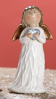 GILDE Dekofigur stehender Deko Engel Heidi mit Herz, Polyresin, 27 cm