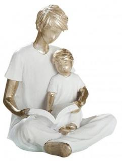 Deko Skulptur Papa mit Kind sitzend 12, 5 x 11, 5 x 14 cm