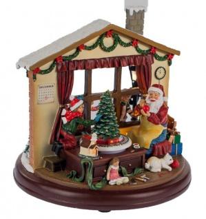 Nostalgische Spieluhr beleuchtet mit LED, Nikolaus mit Kindern 21 cm