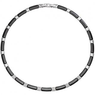 Collier Halskette aus schwarzer Keramik mit Edelstahl und Zirkonia 47 cm